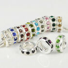 New Crystal Silver Plated Spacer Charms Beads Fit European Bracelets 10/12/14mm