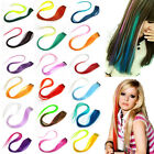 Women Long Shade Straight Colorful Head Clip In Hair Extension Highlight Wing