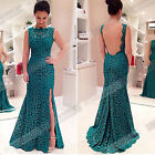 Sexy Women Ladies Backless Sleeveless Bodycon Maxi Gown Lace Long Maxi Dress W2