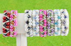 1pc Faceted Crystal Glass Bead Faux Pearl Ball Womens Bracelet Bangle Jewel Gift