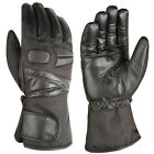 VSJ AKITO Easy Leather & TEXTILE Motorbike Motorcycle Scooter Gloves Black
