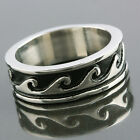 Men's Carved Sea Wave Surf Water Spinning Punk Stainless Steel Finger Band Ring