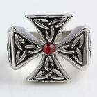 Red Crystal Rhinestone Embossed Cross Crucifix Stainless Steel Biker Band Rings