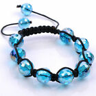 1pc 12mm Faceted Crystal Glass Disco Ball Beaded Woven Hip Hop Bracelet Jewelry