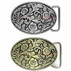 BBUM0028 WESTERN FLORAL FLOWER PLAIN ROPE EDGE COWBOY COWGIRL ALLOY BELT BUCKLE