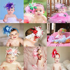 Baby Headband flower Feather Pad prop hair Accessories12 color choices