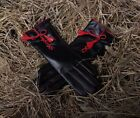 lady's mid length full touch screen red lines elegant warm leather gloves black
