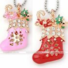 Gold Tone Clear Crystal Christmas Xmas Shoes Charm Pendant Fit Necklace DIY Gift