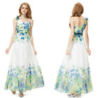 Women's One Shoulder Green Floral Printed Long Party Evening Dress 08032