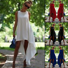Fashion Women Crew Neck Sleeveless Dress Asymmetric Hem Evening Party Casual Hot