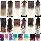 One Piece Straight Ombre Clip in Hair Extension Real Natural Black Blonde Party