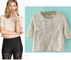 3 colors! Solid embridery lace short sleeve cotton women T-shirt Top Croptop
