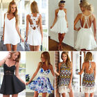 Womens Summer Beach Casual Floral Dress Sexy Party Cocktail Short Mini Sundress