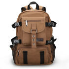 Men's Canvas Quality Rucksack 15'' Laptop Shoulder Bag Hiking Travel Backpack