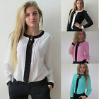 Fashion Women's Pleated Chiffon Long Sleeve Tee Shirt Casual Loose Blouse Tops