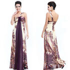 Women's One Shoulder Floral Printed Long Chiffon Evening Formal Dress 09356