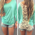 Fashion Women's Loose Cotton V-Neck Tops Long Sleeve T-Shirt Casual Blouse