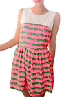 Ladies Elastic Waist Round Neck Cat Prints Fashion Dress