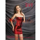 Red Lace up Basques Corset TOP Skirt Thong Set Girl Fancy Dress Clubwear Outfit
