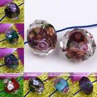 10x Murano Lampwork Glass Foil Flower Roundelle Round Loose Bead For Jewelry DIY