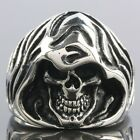 Black Silver Stainless Steel Blash Death Skull Skeleton Head Biker Finger Ring