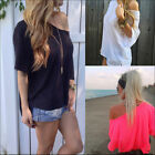 New Women Cotton OFF-Shoulder Long Sleeve Casual T-Shirt Loose Girl Top Blouse