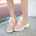 2015 New US4-11 Womens Round toe lace up chunky heel platform Preppy Shoes SWEET