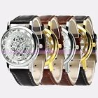 A+ Cool Mens Boys Skeleton Watch Fashion Leather Sport Quartz Wrist Watch