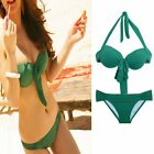 2015 Green Women Sexy Push Up Padded Swimwear Halter Bikini Split Spa Swimsuit