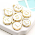 A-Z White round gold border metal Initial Charm Letters Alphabet (9-1-690)