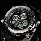 INFANTRY Fashion Mens Digital Quartz  Wrist Watch Dual Time Chrono Date Rubber