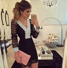 HOT Women Sexy V-neck Long Sleeve Black Lace Evening Cocktail Party Mini Dress