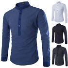 Mens Kurta Style Shirts  Crew Neck  Mandarin/Father Collar Shirts 4 Color 4 Size