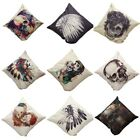 Vintage Halloween Skull Linen Pillow Cases Sofa Throw Cushion Covers Home Decor