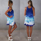 Womens Casual A line Printed Sleeveless Sundress Cocktail Party Beach Mini Dress
