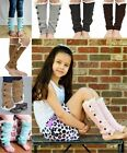 Surpe Warm Kids Girls Knitted Button Lace Leg Warmers Trim Boot Cuffs Socks