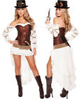 7 Pc Sexy Steampunk Babe - Outfit & Accessories Included - Sz S-L - Roma 4576