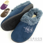 Ladies / Womens Floral Design Mule / Slippers with Faux Fur Trim