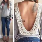 Fashion Women Sexy Long Sleeve Lace Backless Slim Casual T-Shirt Tops Blouse