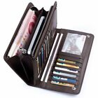 Men's Leather ID Card Holder Zip Wallet Purse Clutch Checkbook Billfold 2015 NEW