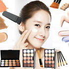 15/20 Color Makeup Cosmetic Concealer Cream Contour Face Palette + Powder Brush