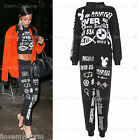Ladies Rihanna Tracksuit Dime Piece Graphic Slogan Print Jogger Top Pant Set