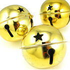 Extra Large Metal Bells charms Gold 45mm 3PCS (2-7-15)