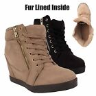 LADIES FUR LINED ANKLE BOOTS WOMENS HIDDEN WEDGE WINTER HIGH TOP TRAINERS SHOES