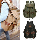 Men's Canvas +Faux Leather  Backpack Vintage Hiking Military Satchel School bag