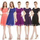 Women Round Neck Chiffon Short Sleeve Summer Party Cocktail Casual Dress 03990