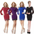 Women's Sexy Chiffon Long Sleeve Short Casual Party Cocktail Dress 03929