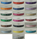 various colours Grosgrain ribbon with white hearts 10mm x 25 metre Full Roll