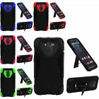For Motorola Droid Turbo 2 Rugged Hybrid Hard Armor Impact Stand Case Cover