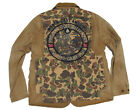 $495 Polo Ralph Lauren Mens Camo Canvas Removable Vest Leather Jacket Coat New